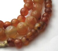 "20"" STRAND OF SMALL GRADUATED BANDED CARNELIAN AGATE EYE BEADS AFRICAN TRADE"