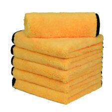 "6pcs Elite Microfiber Towel Soft Plush Cleaning Rag 16""x16"" Yellow w/Black Trim"