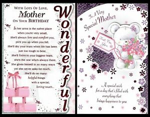 MOTHER ~ QUALITY~ BIRTHDAY Card ~ With Nice Words ~ Choice of Design