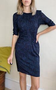 Lovely Whistles Blue Print Bodycon Dress Uk 10 Silk Elastic Long Back Zip
