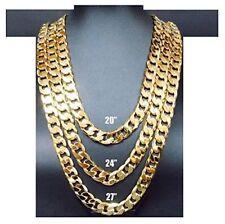 Cadena De Oro De 14k Collar 11mm Cubana De Miami Enlace W / Hebilla Verdadera...
