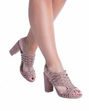 Women's Ladies Girls Mid Low Block Heel Chunky Cut Out Gladiator Shoes Size 3-8