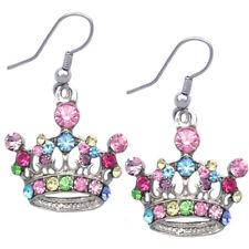 Multi Color Princess Crown Tiara Dangle Charm Hook Earrings Girl Fashion Jewelry