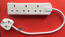 Nuevo 3 Gang Way Red Cable Adaptador De Enchufe multi-Socket Plug con Cable FUNDIDO