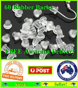 60 Rubber Bullet Earring Backs Stoppers Post Clutch Findings Stops Backings NEW