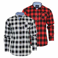 Mens Check Shirt Brave Soul Jack Flannel Brushed Cotton Long Sleeve Casual Top