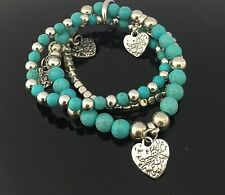 Tibetan Bohemian Turquoise Beads Gemstone Bracelet 3 Pieces Beaded Heart Charms