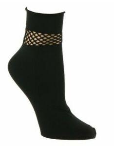 Steve Madden Women's Fishnet Detail at Anklet Black Socks shoes size 5-10