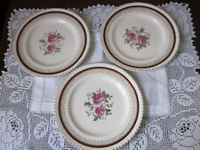 THREE PRETTY JOHNSON BROS PINK ROSE SALAD ENTREE PLATES