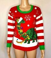 33 Degrees Womens Sweater Size XS Red Ugly Christmas Dinosaur Holiday Poms New
