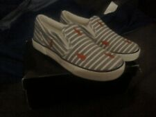 GIRLS NAVY RALPH LAUREN POLO BENGAL HARBOUR STRIPE TRAINERS SHOES SIZE 2.5 (34)