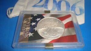 2006 American Silver Eagle 1oz 99.9% SILVER  USA FLAG Design Case & Pouch D21