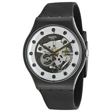 Swatch Originals Silver Glame Skeleton Dial Black Silicone Mens Watch SUOZ147