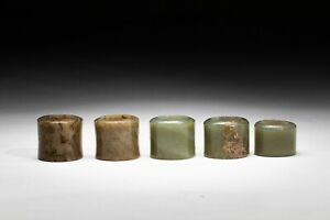 Set of Chinese Antique Jade Thumb Rings,17-20th