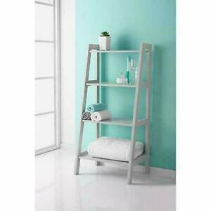 Grey Wooden 4 Tier Ladder Shelf For Extra Storage Display Bathroom Unit 0313
