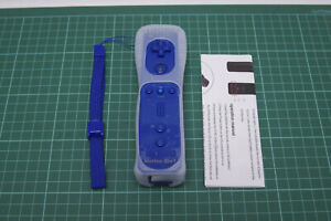 Remote Controller Motion Plus for Nintendo Wii, Strap + Silicone Case, Blue