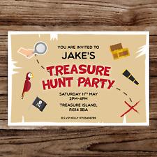10 *PERSONALISED* invitations TREASURE HUNT party BIRTHDAY INVITES scavenger