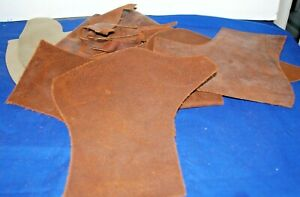 LEATHER PIECES---FOR CRAFTS, CLOTHING REPAIRS, SADDLE WORK, ETC.-LOTS OF 7-15