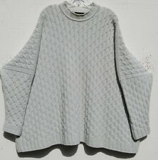 Eskandar LIGHT GRAY Heavy Weight Cashmere Cable Knit Sweater O/S $2490