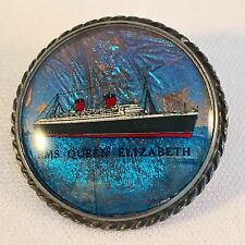 Vintage Sterling Butterfly Wing Rms Queen Elizabeth Ship Brooch Pin WW2 Era 1940