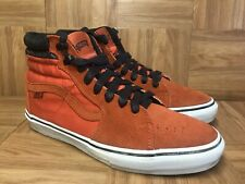 RARE🔥 VANS Vault LX Sk8-Hi Safety Orange Suede Canvas Black Sz 9.5 Men's Shoes