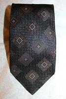 ERMENEGILDO ZEGNA MR. SID Men's Black  GEOMETRIC  100 % Woven Silk Tie Italy