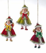 Katherine's Collection Noel Christmas Set x6 Noel Retro Christmas Girl Ornaments