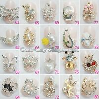 Lot 10/50 Pcs 3D Clear Alloy Rhinestone Bow Tie Nail Art Slices Diy Decorations