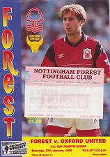 Football Programme+ Match Ticket>NOTTINGHAM FOREST v OXFORD UNITED Jan 1996 FAC