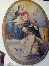 Cuadro Religioso Virgen Maria Niño Jesus Monje Angeles Restauración siglo XVlll
