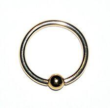 "NEW Solid 14k Gold Ring 18g x 7/16"" CBR 14/20GF Body Jewelry eye/ear/nose NIB"