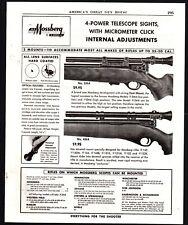 1954 MOSSBERG Rifle Telescope Scope Sight PRINT AD Vintage Gun Advertising