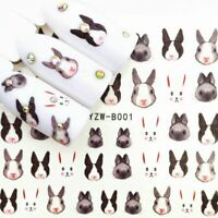 Nail Art Water Decals Stickers Transfers Cute Easter Bunny Rabbits (YZWB001)