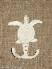 New~Aged White Cast Iron Sea Turtle Wall Hook Nautical Coastal Beach Marine