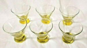 Set of 6 Vintage LIBBEY Canary Yellow Base Barware, Stemless Martini Glasses