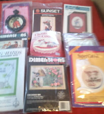 Lot of 10 Small Project Embroidery Kits - Mostly Cross Stitch, Some Christmas