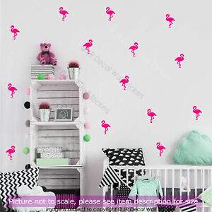 Nursery Stickers, Flamingo wall stickers Set, Kids bedroom wall, Kid wall art