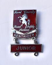 Vintage pin badge Cycling Proficiency Kent County Road Safety Junior Kentrider