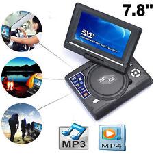 """7.8 """"Lettore DVD portatile da auto ricaricabile schermo girevole USB SD FM"""
