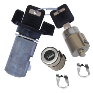 GM OEM Ignition Key Switch Lock Cylinder & Door Lock Tumbler Barrel Set 2 Keys