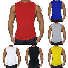 Mens Bodybuilding Stringer GYM Tank Tops Fitness Muscle Workout Vest T-shirt AU