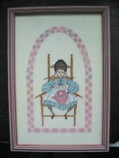 P Buckley Moss Loving Stitches Completed On Aida Framed Girl Stitching 9x13