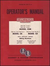 Kearney & Trecker Milwaukee Operators Manual Ch Ck Csm
