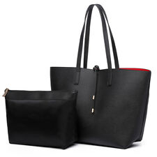 Women Casual Designer Black Handbag PU Leather Tote Bag Reversible