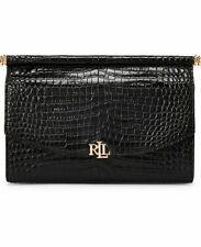 Ralph Lauren Black Croco Leather Mini Prescott Handbag Strap Chain Gold Bag New
