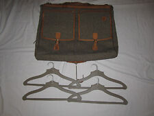 Vintage Hartmann Walnut Tweed & Belting Leather Bifold Garment Bag with hangers