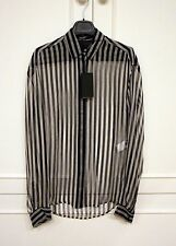 New anthony Vaccarello mousseline Stripe camisa blouse Silk fr36 XS Sold Out
