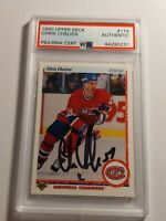1990 Upper Deck Chris Chelios PSA/DNA authenticated Auto Habs Blackhawks MINT