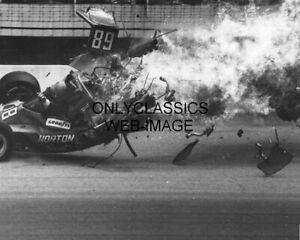 1975 INDY 500 WILD CRASH AUTO RACING 8X10 PHOTO TOM SNEVA FLIPS -RASMUSSEN IS OK