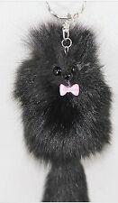 1pc Black Artificial Fox Fur Tail Keychain Bag Tag Charm Handbag Pendant Gifts
